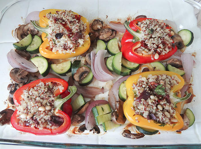 Quinoa Stuffed Bell Peppers Cooking