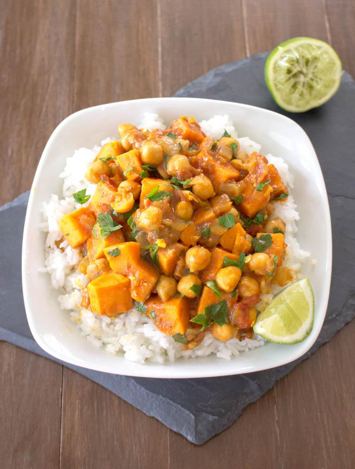 table curried sweet potato and chickpea stew vegetable curry stew ...