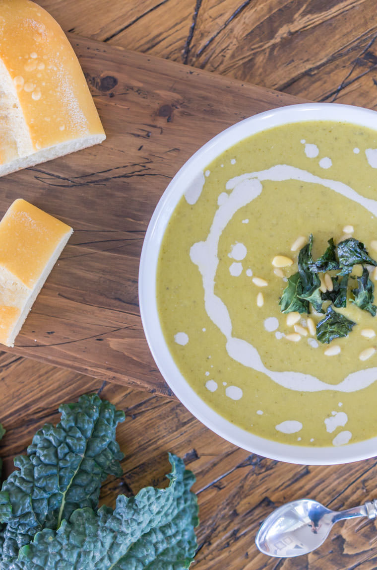 Lemony Tuscan Kale Soup with Crispy Kale Chips | One Ingredient Chef