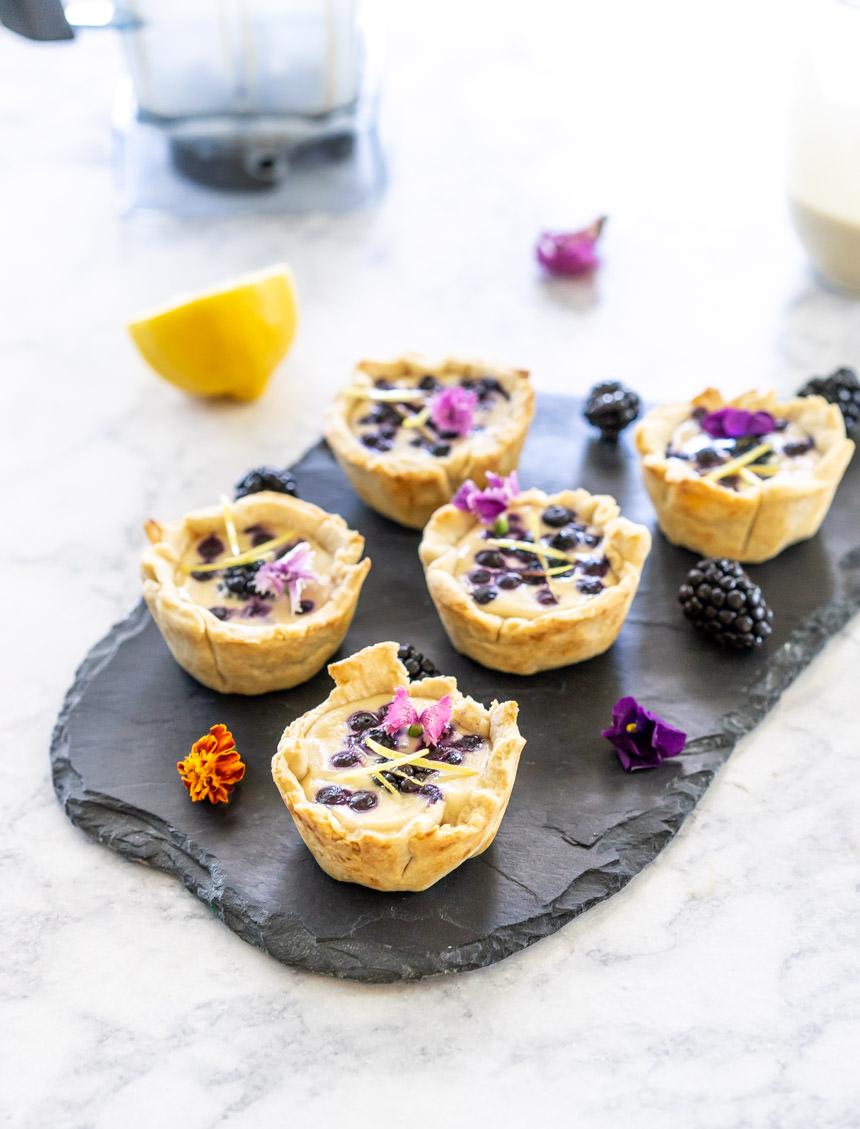 Mini Vegan Tarts with Cashew Lemon Custard and Berries