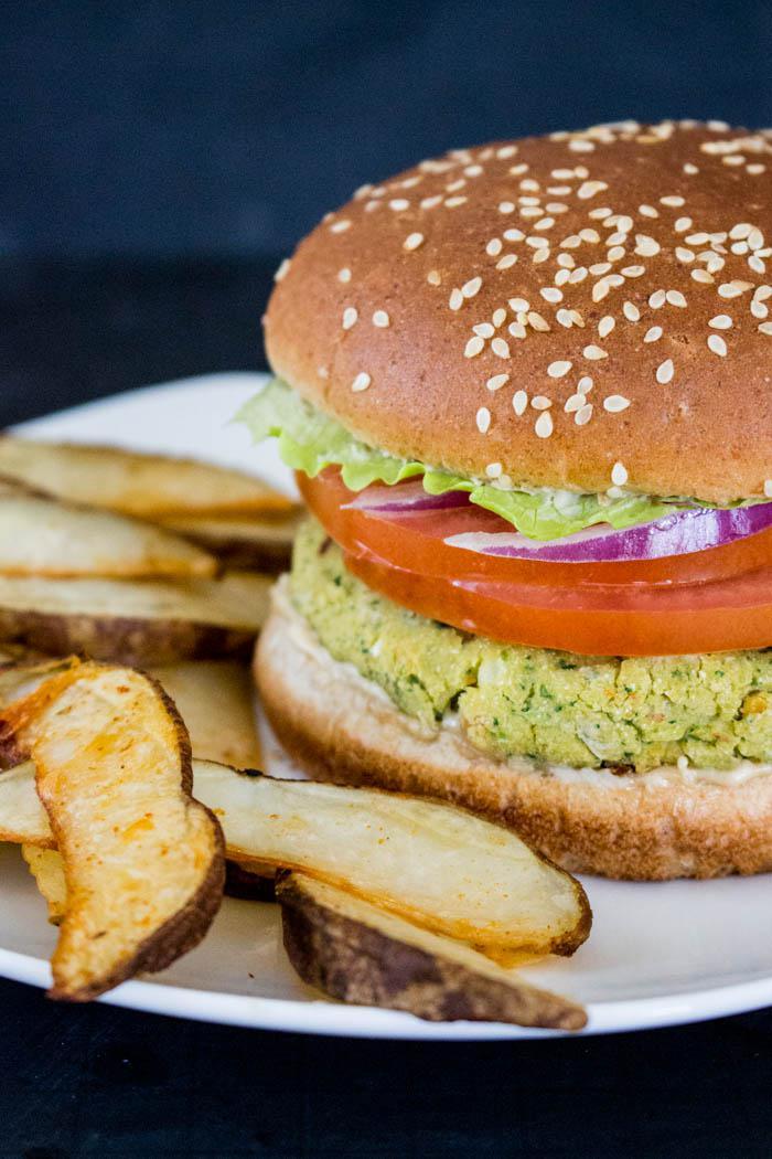 Falafel Burger and Fries